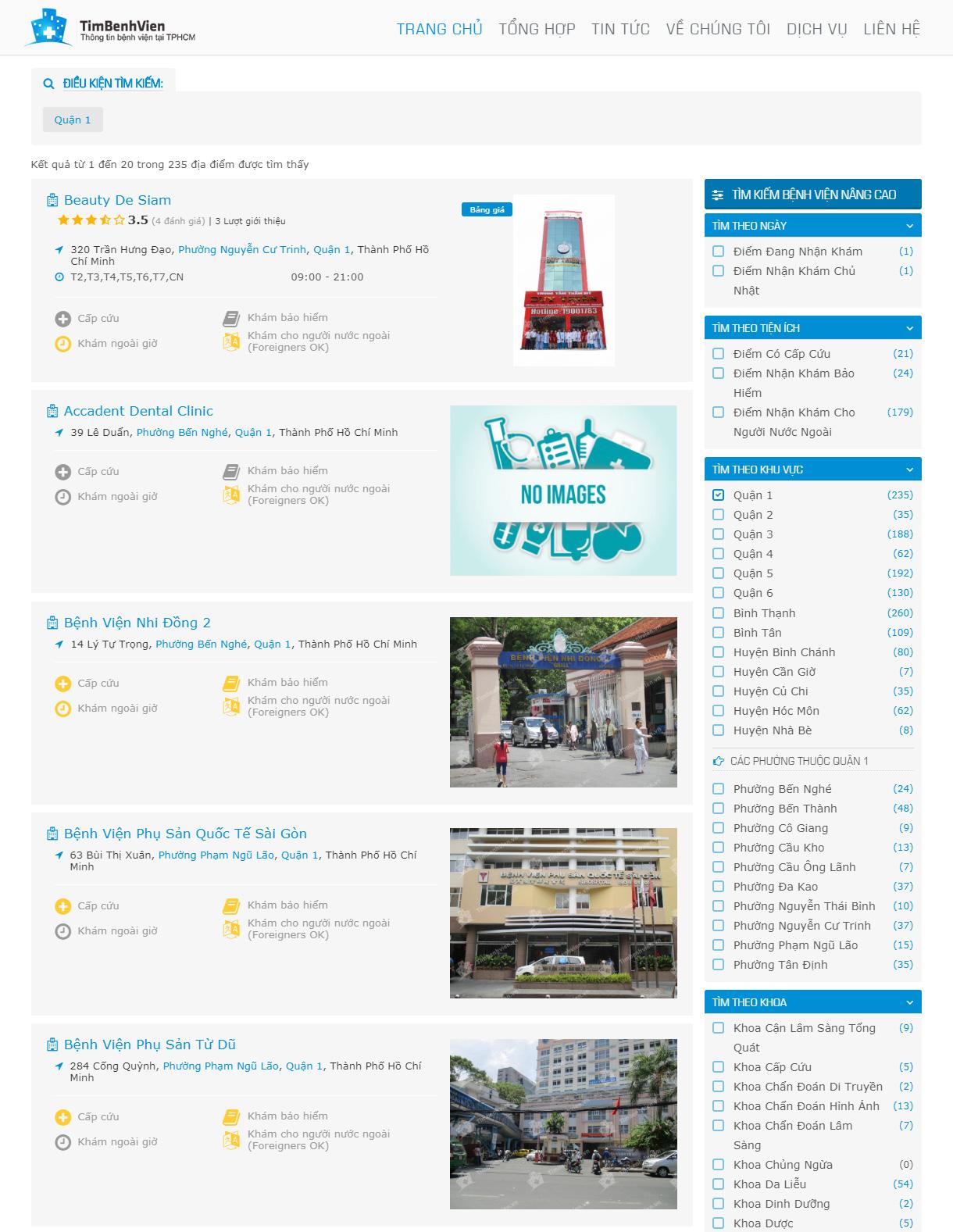Kết quả tìm kiếm hiển thị đầy đủ theo nhu cầu khách hàng